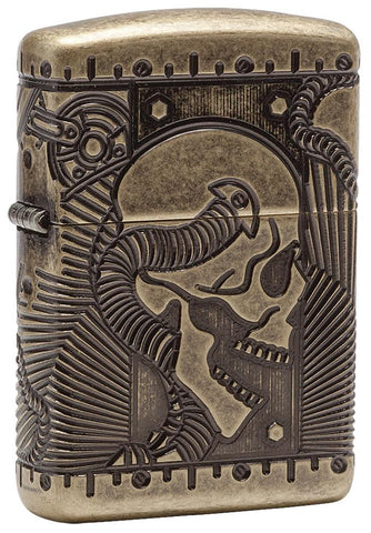 29268, Steampunk Skull, Deep Carve Engraving, Antique Brass Finish, Armor Case