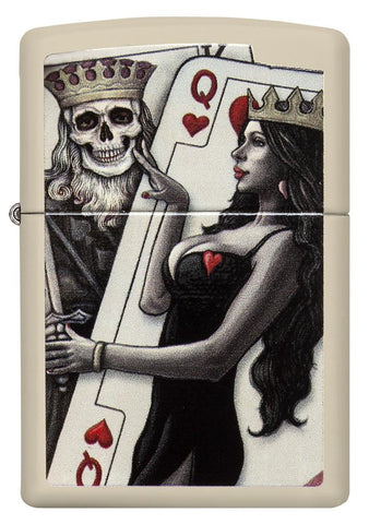 29393, Skull King Queen Card with Queen of Hearts, Color Image, Cream Matte Finish