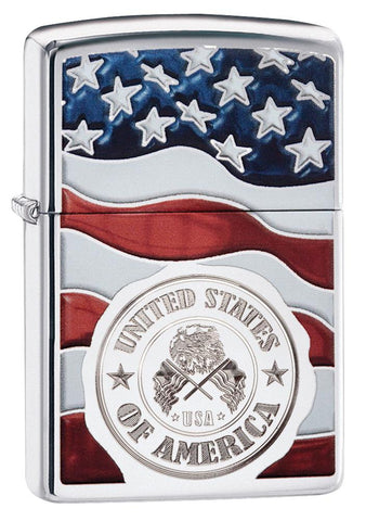 United States Stamp on American Flag Chrome Windproof Lighter standing at a 3/4 angle