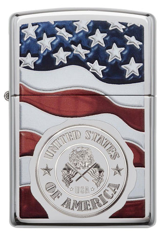 Front view of United States Stamp on American Flag Chrome Windproof Lighter