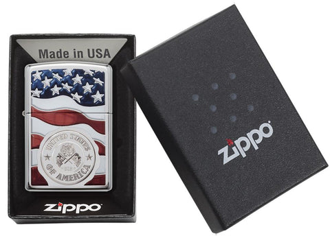 United States Stamp on American Flag Chrome Windproof Lighter in its packaging