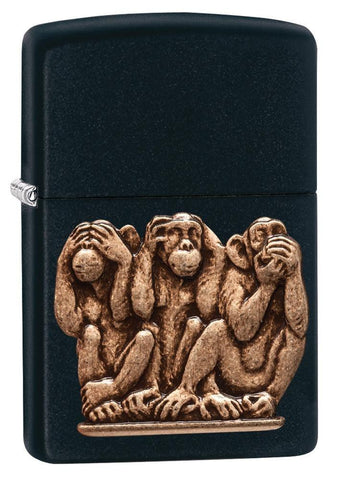 29409, Three Monkeys (See No Evil, Hear No Evil, Speak No Evil) Bronze Emblem on Black Matte Finish
