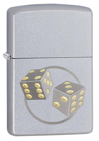 29412, Engraved Dice, Auto Two Tone, Satin Chrome, Classic Case