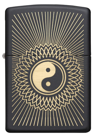 29423, Yin Yang Golden Shining Design, Laser Engraving on Black Matte Finish