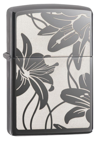29426, Inverted Lilies, Laser Engraving, Black Ice, Classic Case