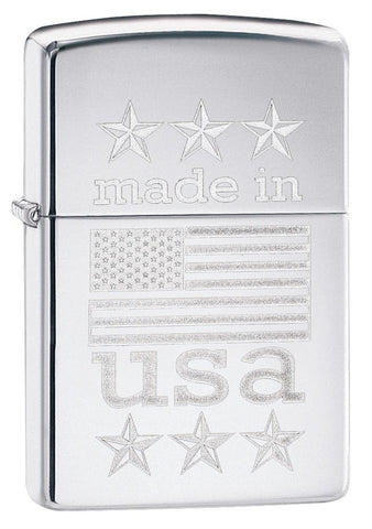 29430, Made in USA Flag & Stars, Lustre Engraving, High Polish Chrome Finish, Classic Case