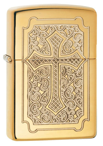 29436, Eccentric Religious Golden Cross, Deeo Carve, High Polish Brass, Armor Case