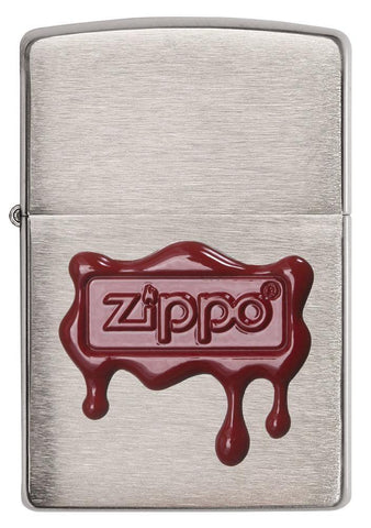 29492, Zippo Red Wax Drippy Seal Emblem on Brushed Chrome Finish