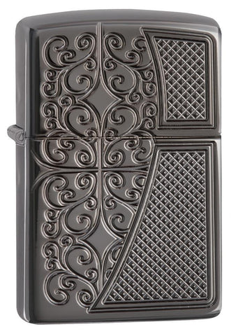 29498, Old Royal Filigree, Deep Carve Engraving, Black Ice Finish, Gold-struck Insert, Armor Case