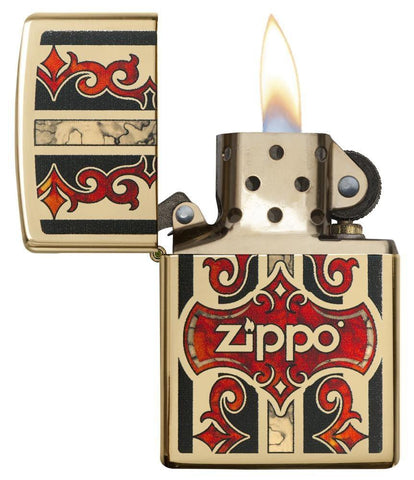 29510, Jazzy Zippo Logo with Red Vintage Embellishments, Fusion Process on High Polish Brass Finish