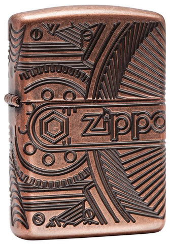 29523, Zippo Steampunk Gears, Deep Carve Engraving on Antique Copper Finish & Armor Case
