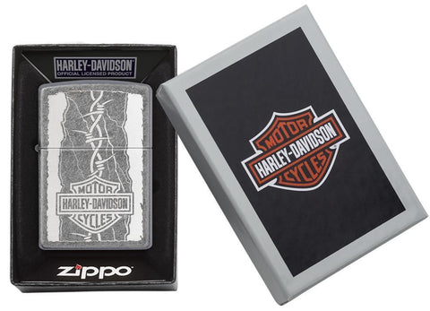29560, Harley-Davidson Barbed Wire, Laser Engrave, Antique Silver Plate, Classic Case