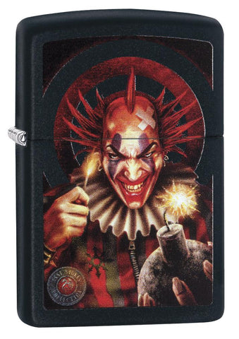 Anne Stokes Sinister Clown Windproof Lighter standing at a 3/4 angle