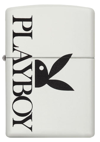 29579 Playboy Black Bunny on White Matte Lighter - Front View
