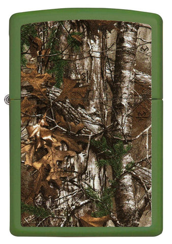 29585 Realtree Camo Design on Green Matte Lighter - Front View