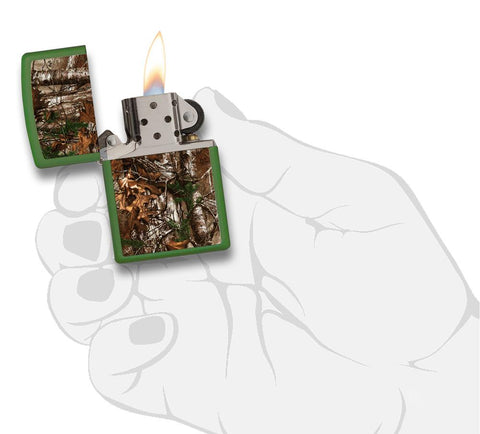 29585 Realtree Camo Design on Green Matte Lighter - In Hand, Open Lit