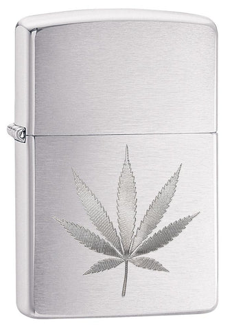 29587, Marijuana Leaf Design, Auto Engraving, Brushed Chrome Finish, Classic Case