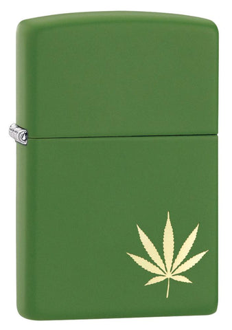 29588, Marijuana Leaf on the Side, Laser Engraving, Green Matte Finish, Classic Case