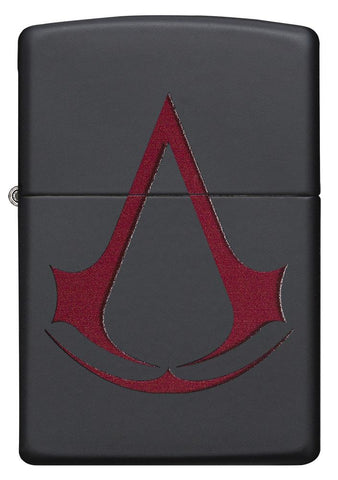 29601 Assassin's Creed Scarlet Red Crest on a Black Matte Lighter - Front View