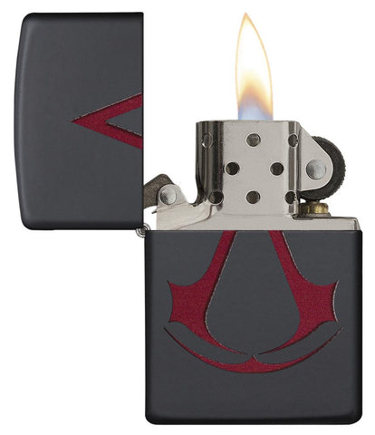 29601 Assassin's Creed Scarlet Red Crest on a Black Matte Lighter - Open Lit