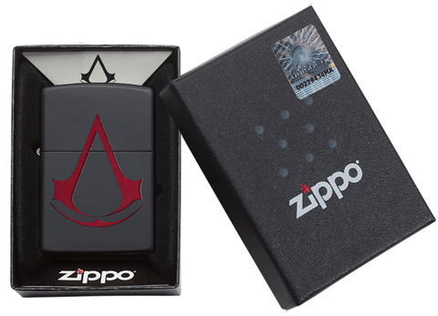 29601 Assassin's Creed Scarlet Red Crest on a Black Matte Lighter - Packaging