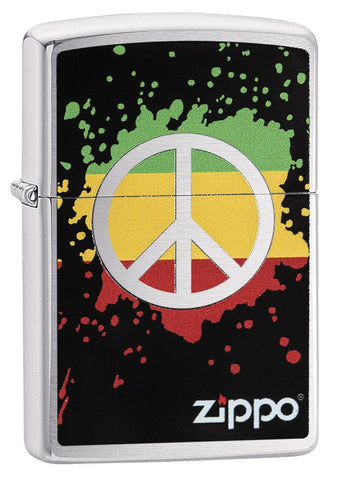 29606 Red, Yellow, & Green Peace Sign design on a Brushed Chrome Lighter
