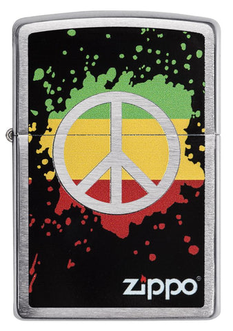 29606 Red, Yellow, & Green Peace Sign design on a Brushed Chrome Lighter - Front View