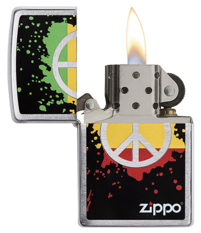 29606 Red, Yellow, & Green Peace Sign design on a Brushed Chrome Lighter - Open Lit
