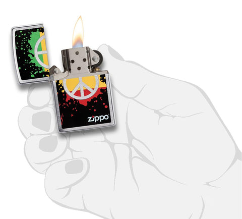 29606 Red, Yellow, & Green Peace Sign design on a Brushed Chrome Lighter - In Hand, Open Lit