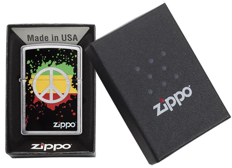 29606 Red, Yellow, & Green Peace Sign design on a Brushed Chrome Lighter - Packaging