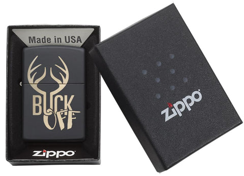"29607 Engraved Bronze ""Buck Off"" Deer on a Black Matte Lighter - Packaging"