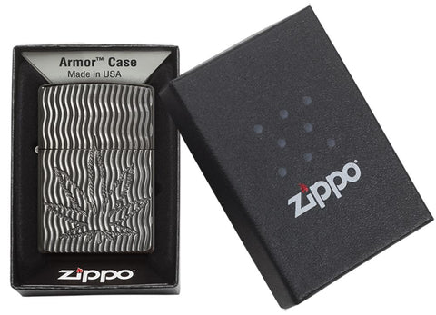 Armor® Deep Carve Marijuana Leaf Black Ice Windproof Lighter in its packaging
