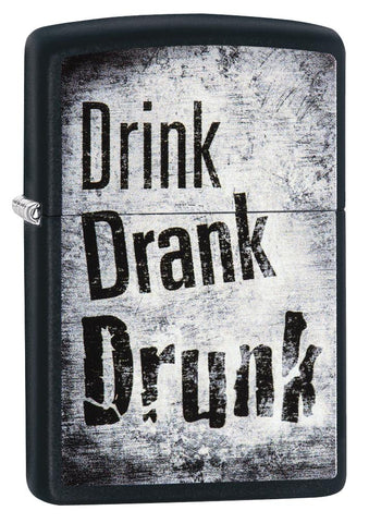 "29618 ""Drink, Drank, Drunk"" Distressed Design on a Black Matte Lighter"