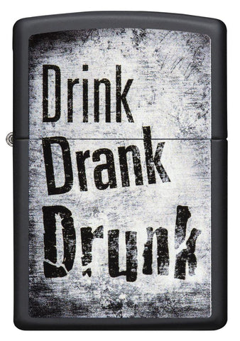 "29618 ""Drink, Drank, Drunk"" Distressed Design on a Black Matte Lighter - Front View"
