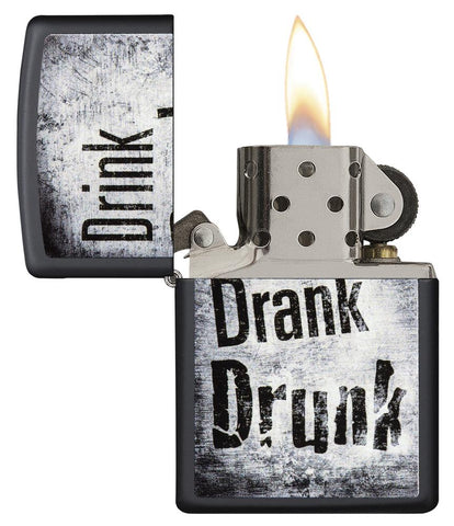 "29618 ""Drink, Drank, Drunk"" Distressed Design on a Black Matte Lighter - Open Lit"