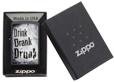 "29618 ""Drink, Drank, Drunk"" Distressed Design on a Black Matte Lighter - Packaging"