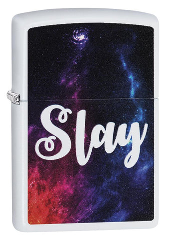 "29620 ""Slay"" Outer Space Design on a White Matte Lighter"
