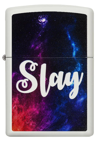 "29620 ""Slay"" Outer Space Design on a White Matte Lighter - Front View"