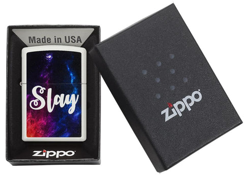 "29620 ""Slay"" Outer Space Design on a White Matte Lighter - Packaging"