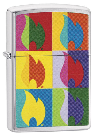 Abstract Neon Flame Design Windproof Lighter standing at a 3/4 angle