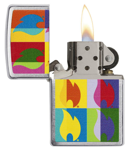 Abstract Neon Flame Design Windproof Lighter with its lid open and lit