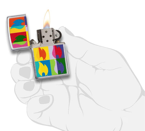 Abstract Neon Flame Design Windproof Lighter in hand and lit