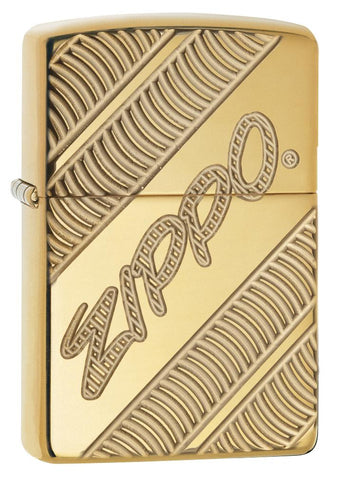 29625 Zippo Coiled Deep Carve Engraving on a High Polish Brass Lighter