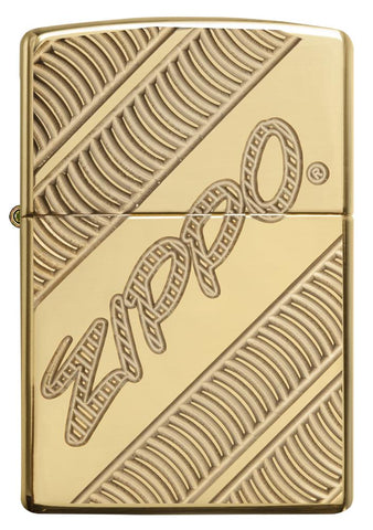 29625 Zippo Coiled Deep Carve Engraving on a High Polish Brass Lighter - Front View