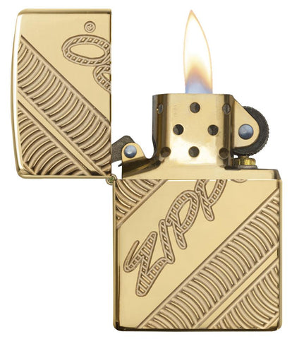 29625 Zippo Coiled Deep Carve Engraving on a High Polish Brass Lighter - Open Lit