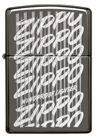 29631 Zippo Script Windproof Engraved Design on a Black Ice Lighter - Front View