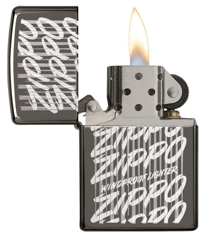29631 Zippo Script Windproof Engraved Design on a Black Ice Lighter - Open Lit