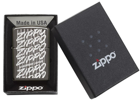 29631 Zippo Script Windproof Engraved Design on a Black Ice Lighter - Packaging