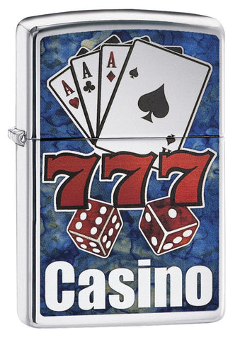 "29633 ""777,"" Cards, Dice, ""Casino"" Blue and Red Fusion Lighter"