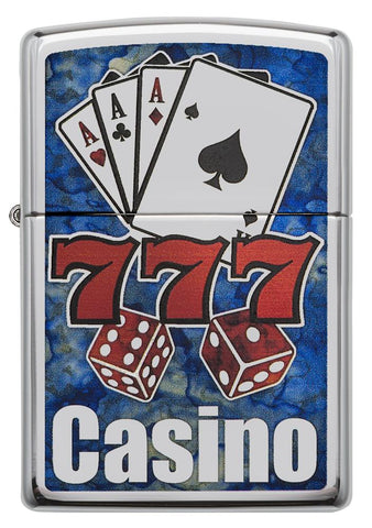 "29633 ""777,"" Cards, Dice, ""Casino"" Blue and Red Fusion Lighter - Front View"